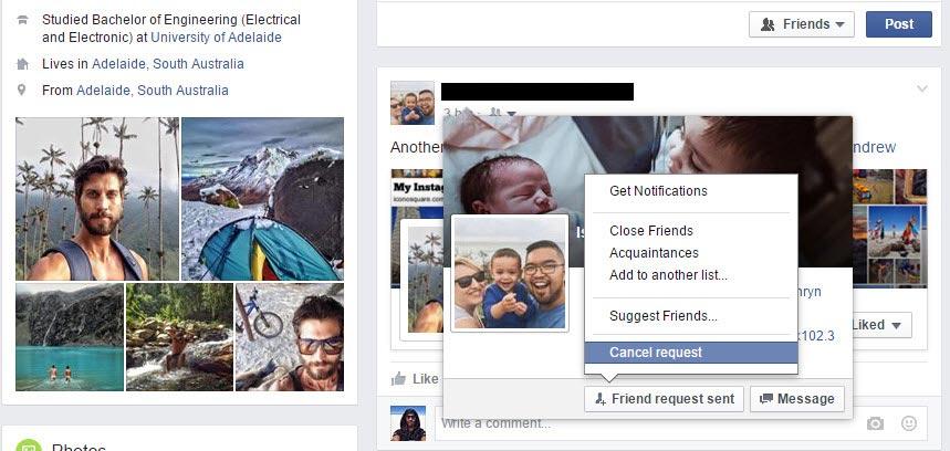 cancel sent Facebook friend requests