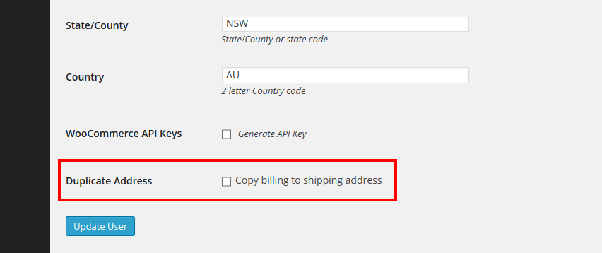 copy billing to shipping address woocommerce