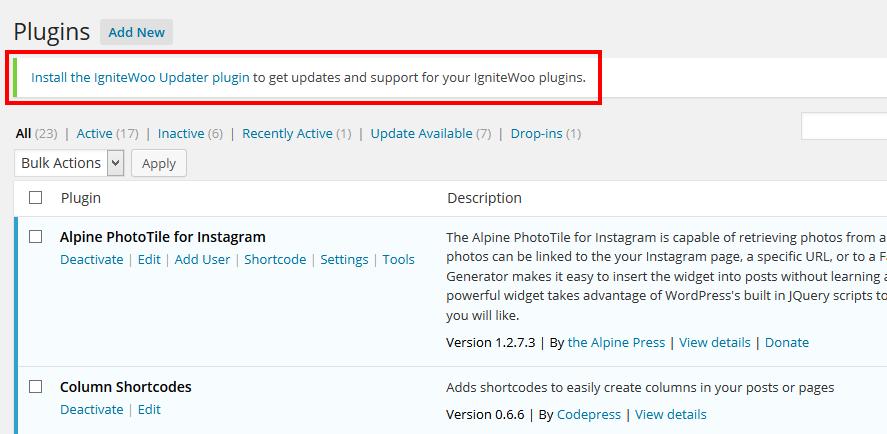 remove wootheme ignitewoo plugin updater